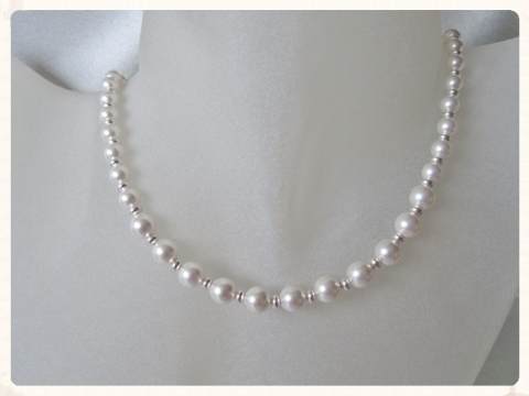 Graduated White Swarovski Pearls & Sterling Silver Beads Bridal Necklace